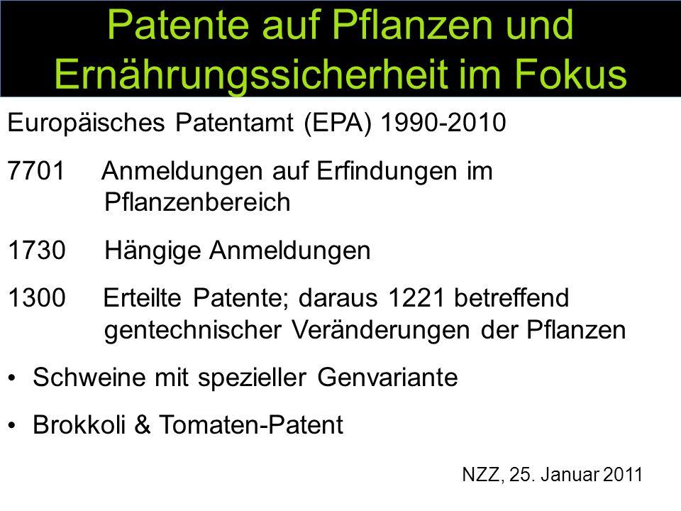 Patente auf Pflanzen und Ernährungssicherheit im Fokus