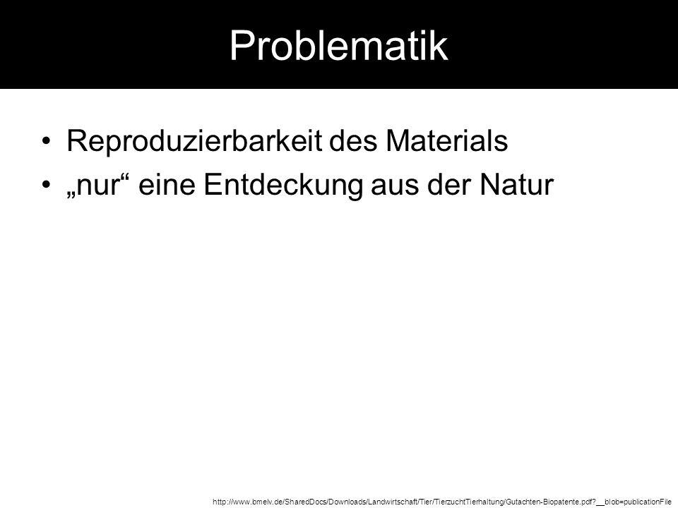 Problematik Reproduzierbarkeit des Materials