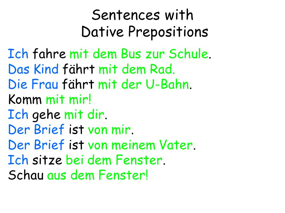 Sentences with Dative Prepositions