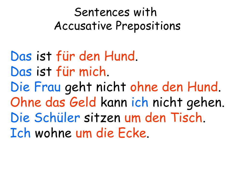 Sentences with Accusative Prepositions
