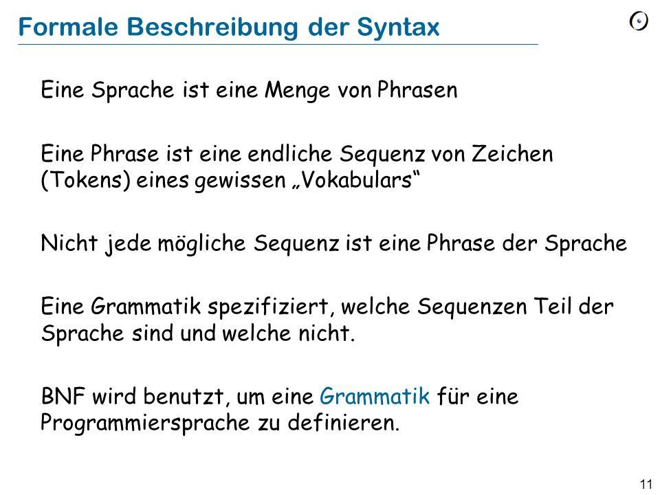 Formale Beschreibung der Syntax