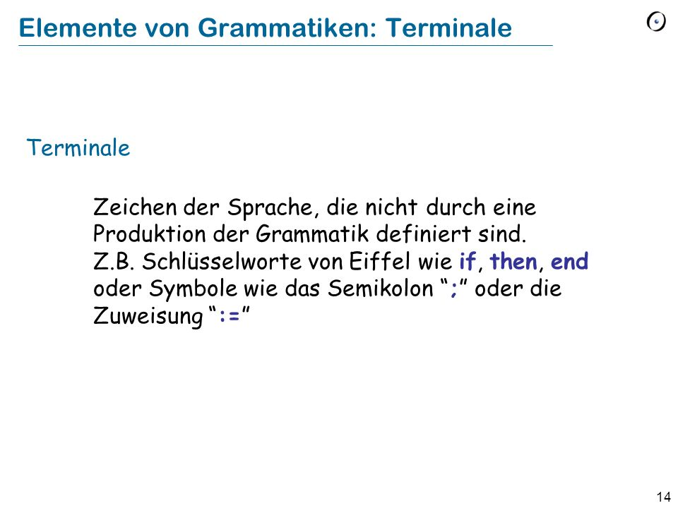 Elemente von Grammatiken: Terminale