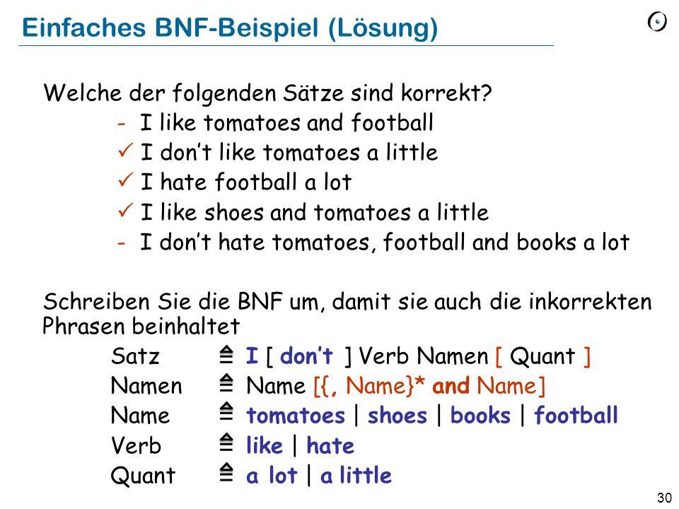Einfaches BNF-Beispiel (Lösung)