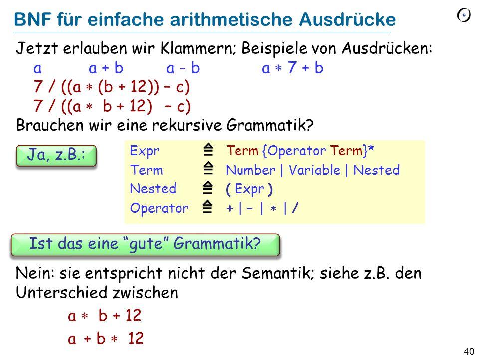 BNF für einfache arithmetische Ausdrücke