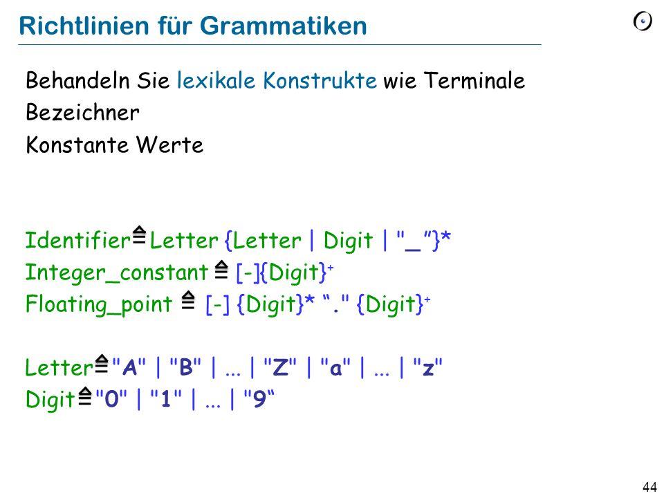 Richtlinien für Grammatiken