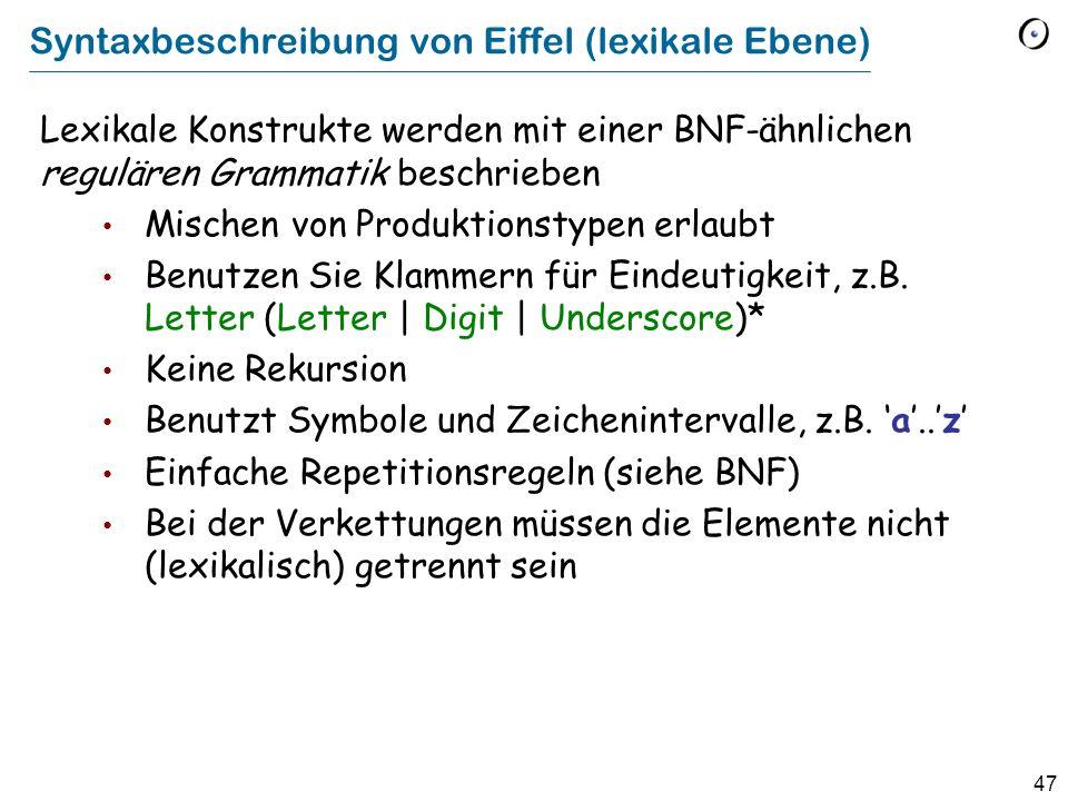 Syntaxbeschreibung von Eiffel (lexikale Ebene)