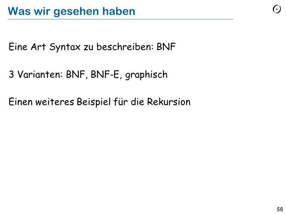 Was wir gesehen haben Eine Art Syntax zu beschreiben: BNF