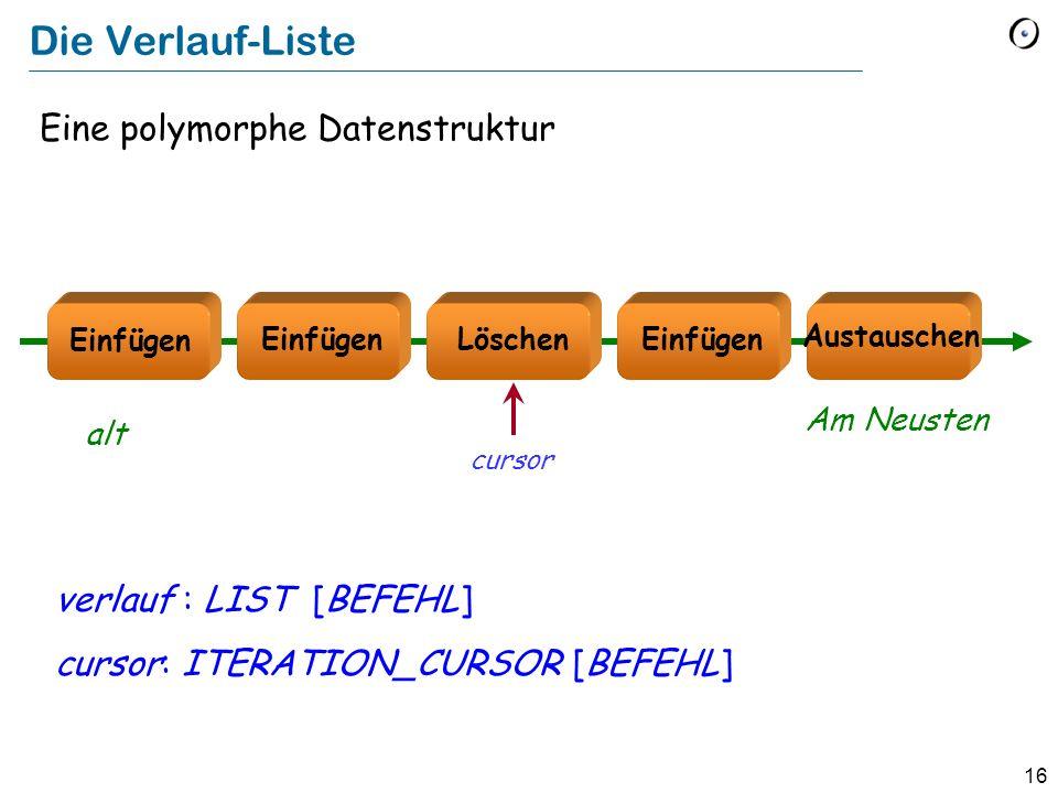 Die Verlauf-Liste Eine polymorphe Datenstruktur