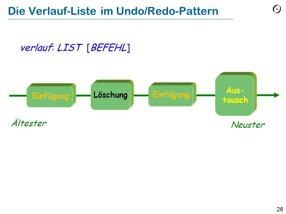 Die Verlauf-Liste im Undo/Redo-Pattern