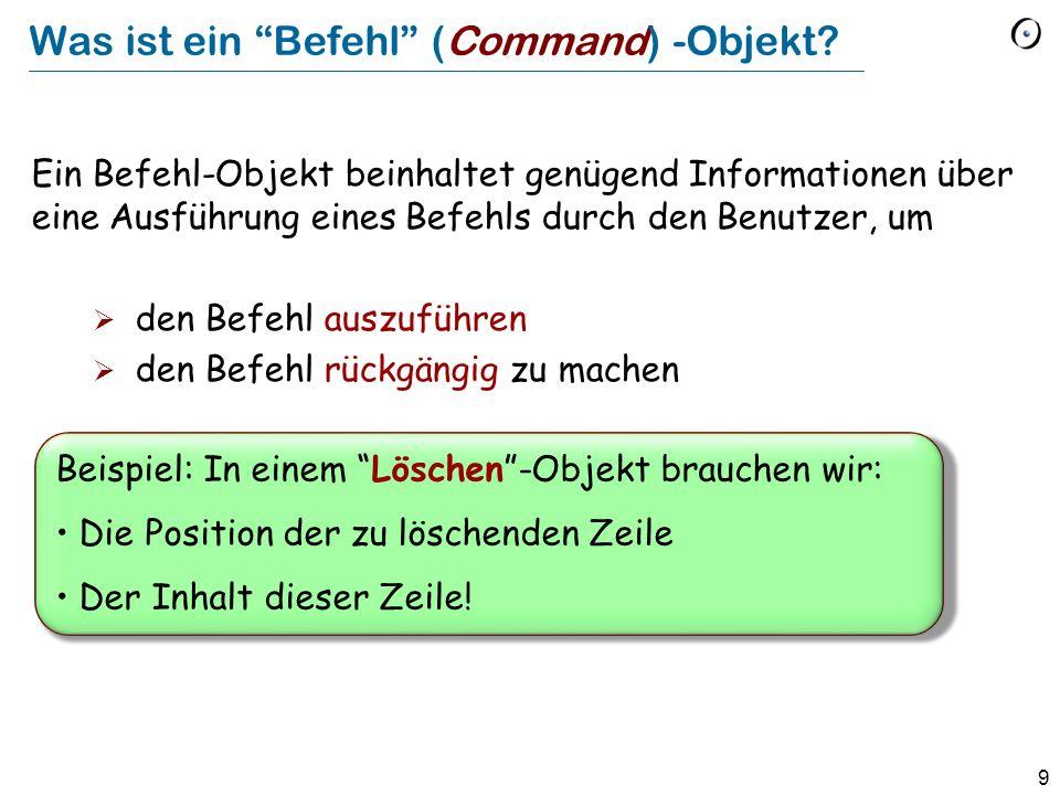 Was ist ein Befehl (Command) -Objekt