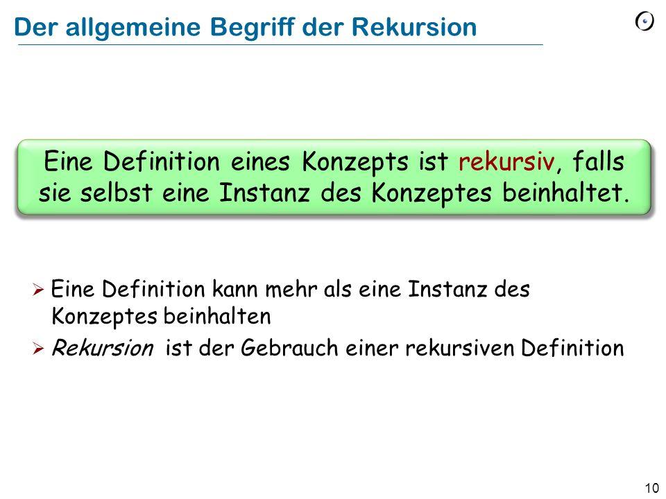 Der allgemeine Begriff der Rekursion