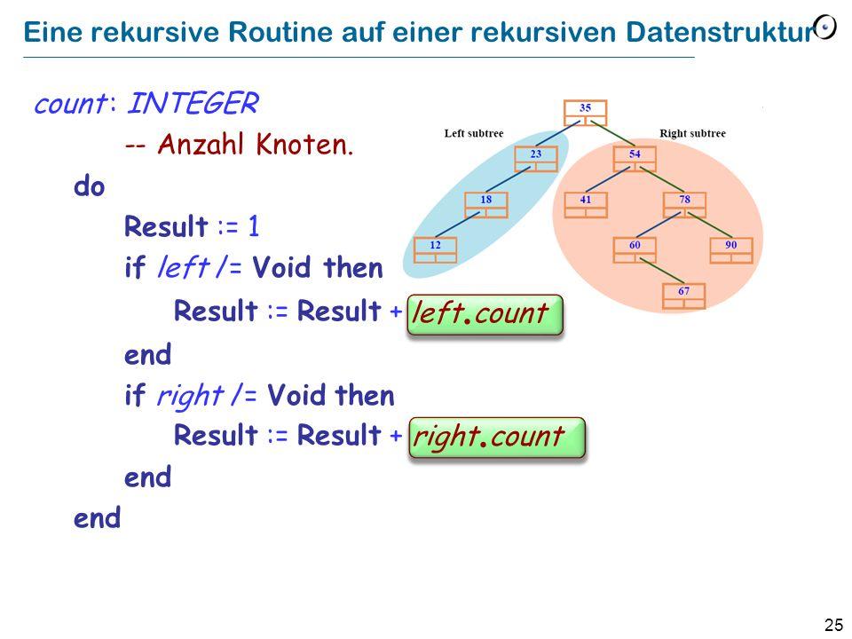 Eine rekursive Routine auf einer rekursiven Datenstruktur