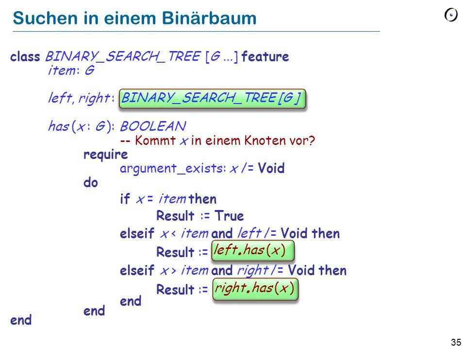 Suchen in einem Binärbaum