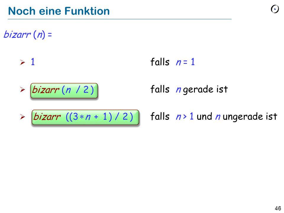 Noch eine Funktion bizarr (n) = 1 falls n = 1