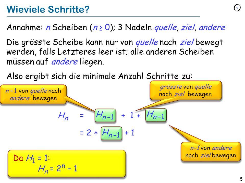 Wieviele Schritte Annahme: n Scheiben (n ≥ 0); 3 Nadeln quelle, ziel, andere.