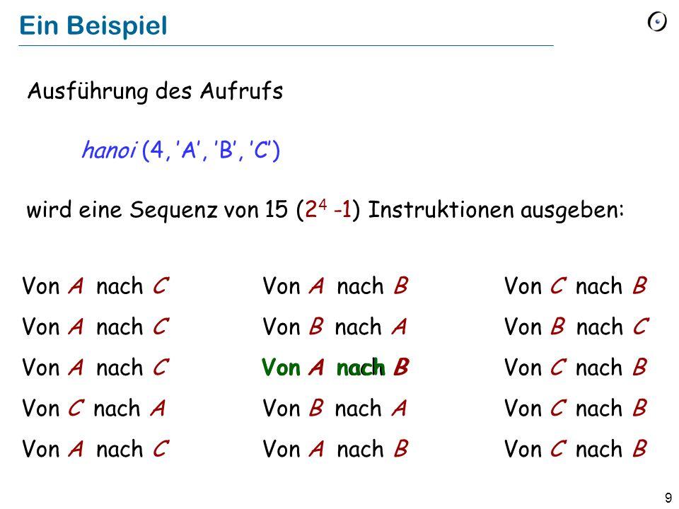 Ein Beispiel Ausführung des Aufrufs hanoi (4, 'A', 'B', 'C')
