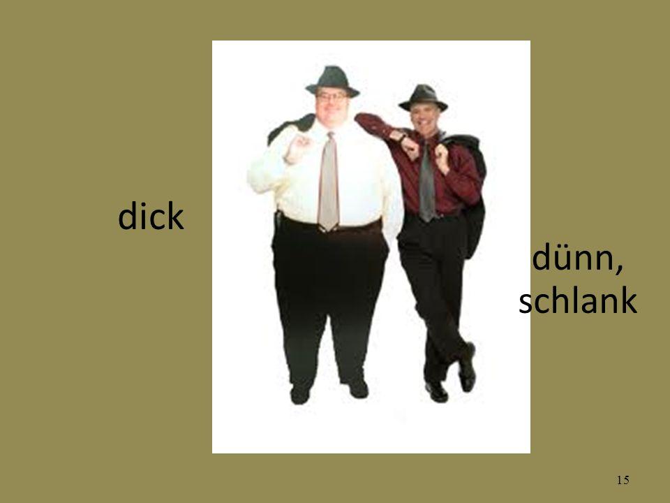 dick dünn, schlank