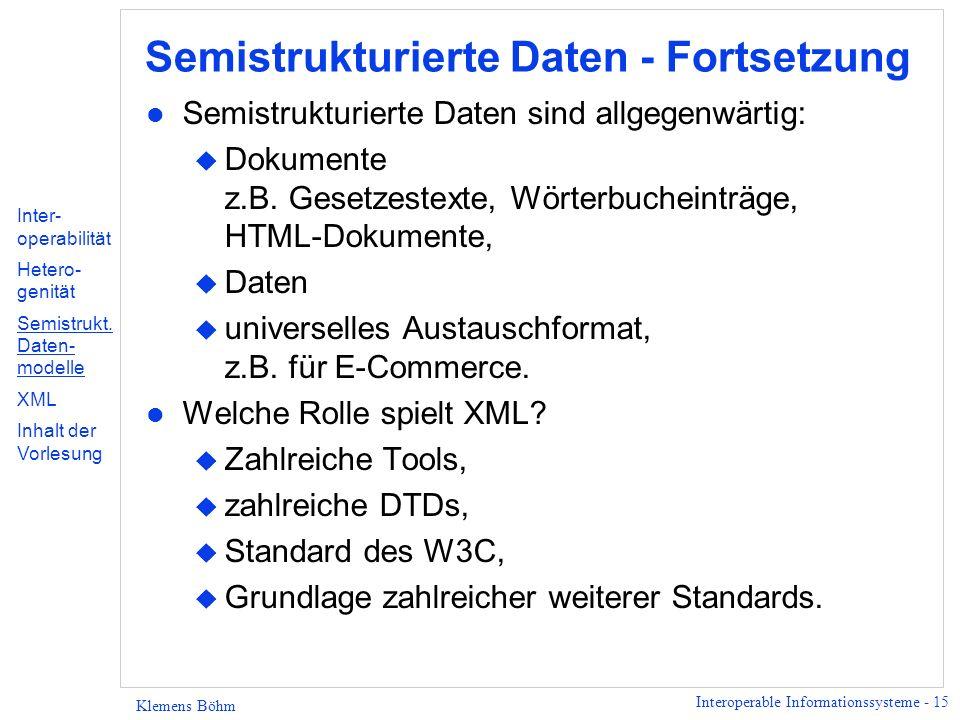 Semistrukturierte Daten - Fortsetzung