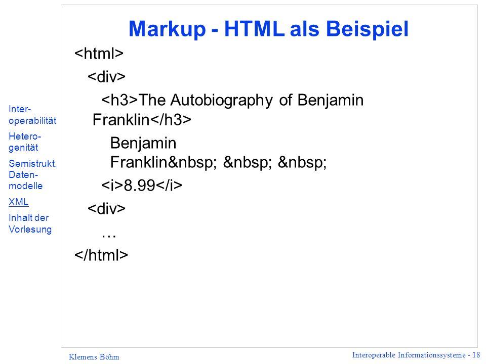 Markup - HTML als Beispiel