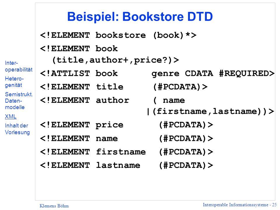 Beispiel: Bookstore DTD