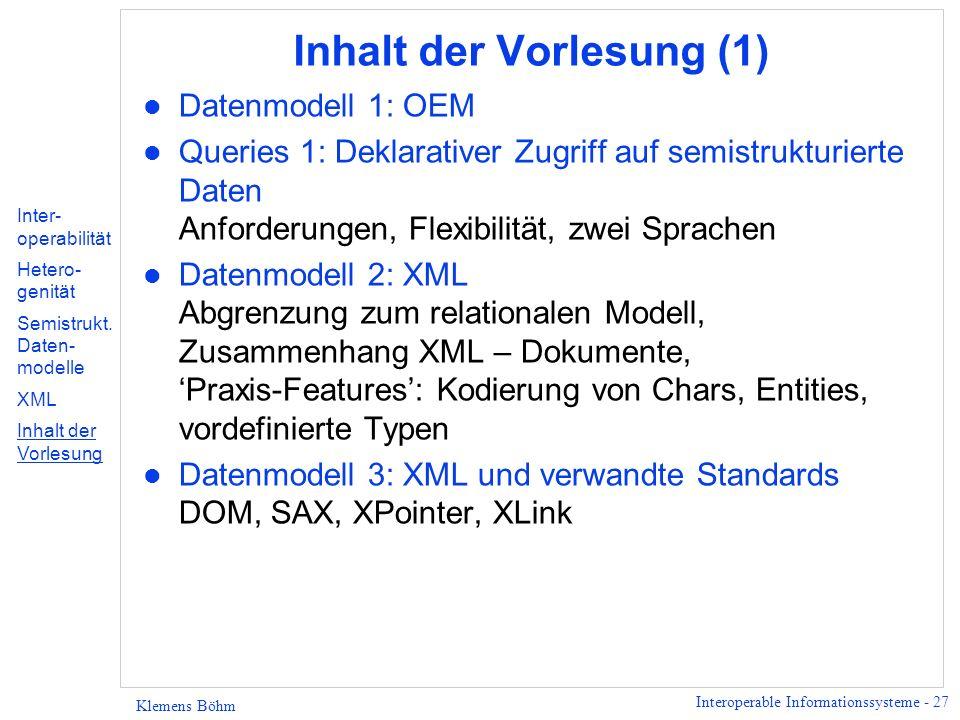 Inhalt der Vorlesung (1)