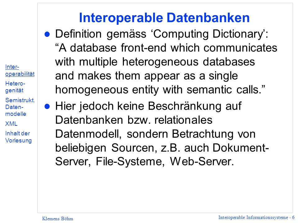 Interoperable Datenbanken