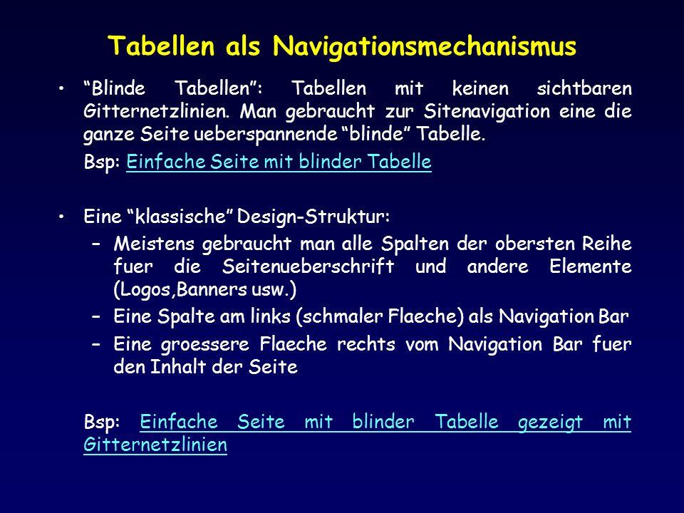 Tabellen als Navigationsmechanismus