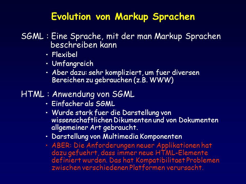Evolution von Markup Sprachen
