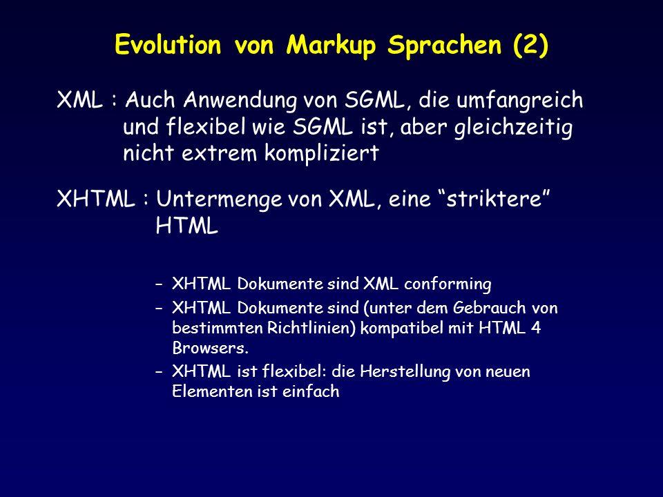Evolution von Markup Sprachen (2)