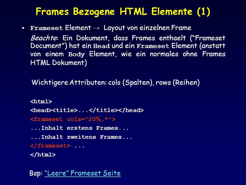 Frames Bezogene HTML Elemente (1)