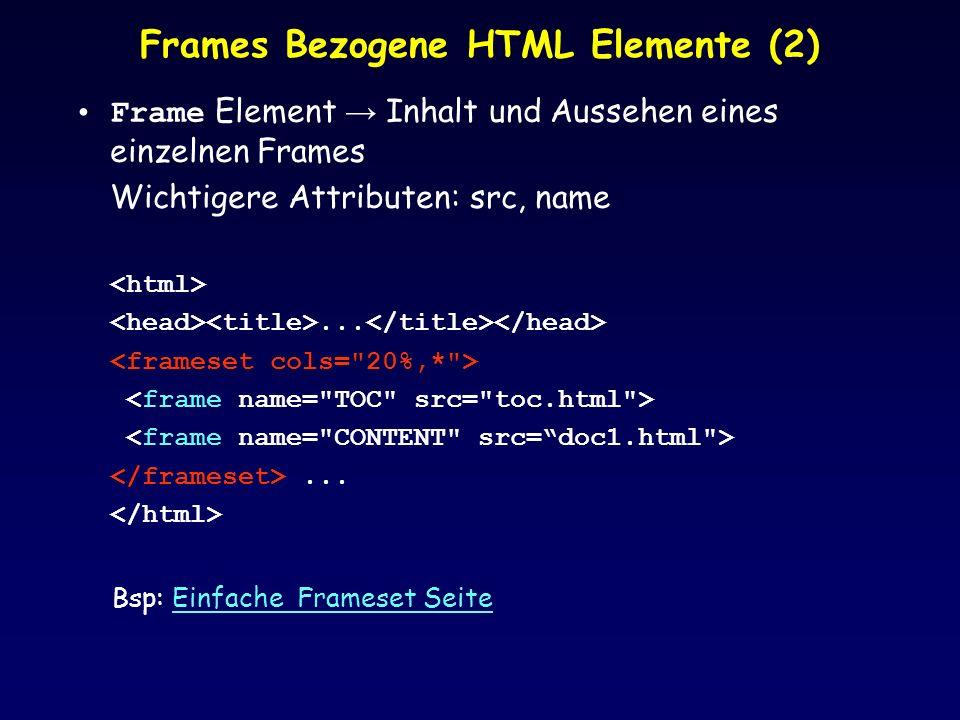 Frames Bezogene HTML Elemente (2)