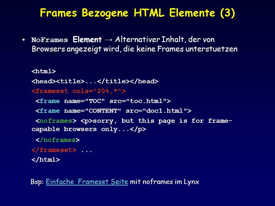 Frames Bezogene HTML Elemente (3)