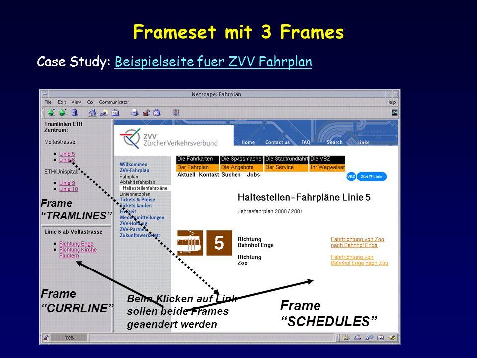 Frameset mit 3 Frames Case Study: Beispielseite fuer ZVV Fahrplan