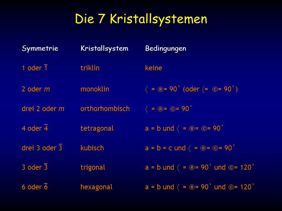 Die 7 Kristallsystemen Symmetrie Kristallsystem Bedingungen