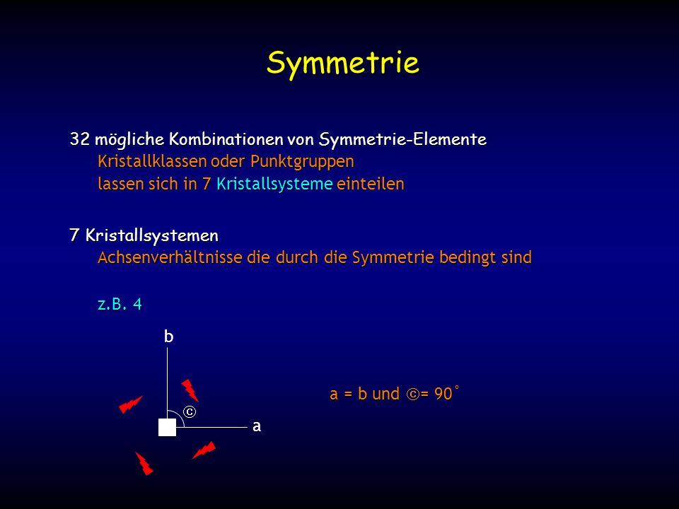 Symmetrie 32 mögliche Kombinationen von Symmetrie-Elemente