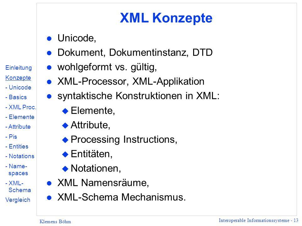 XML Konzepte Unicode, Dokument, Dokumentinstanz, DTD