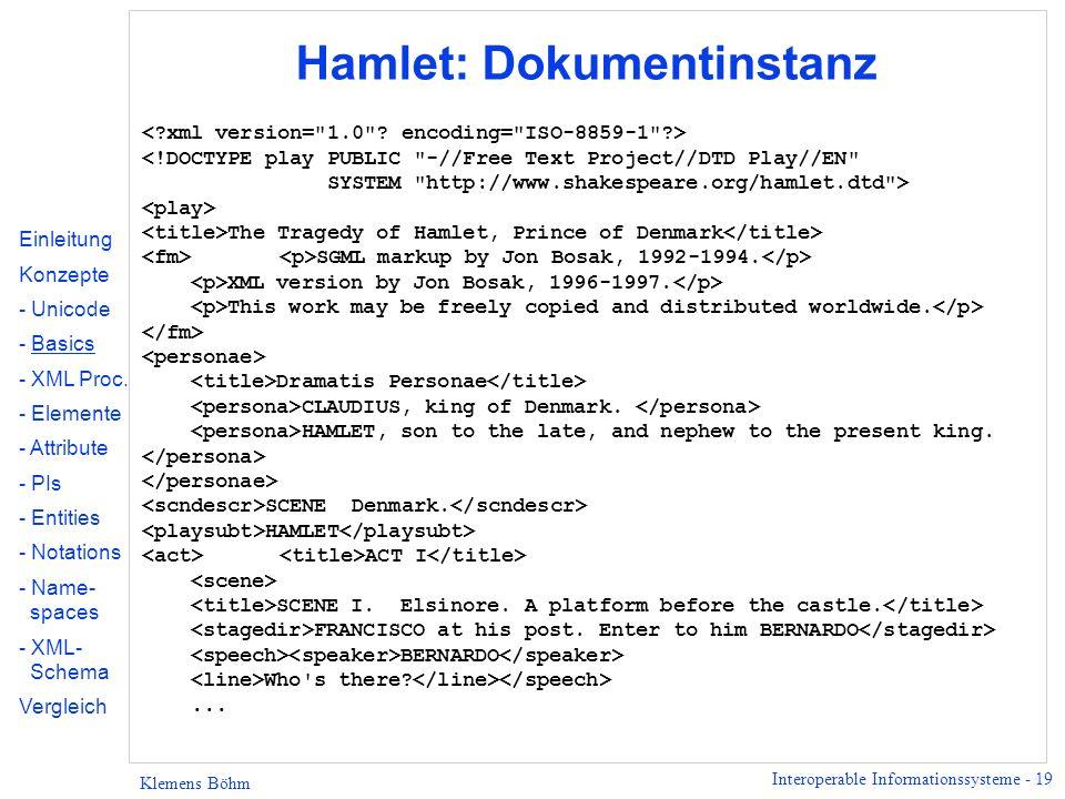 Hamlet: Dokumentinstanz