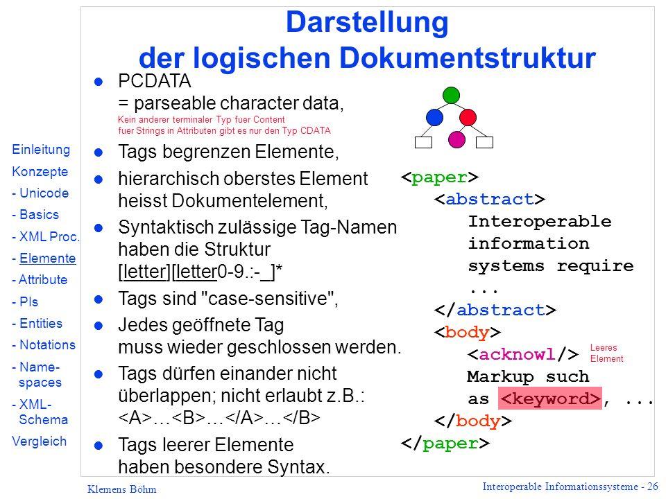 Darstellung der logischen Dokumentstruktur