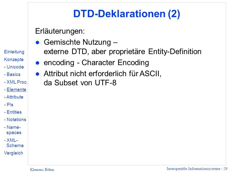 DTD-Deklarationen (2) Erläuterungen: