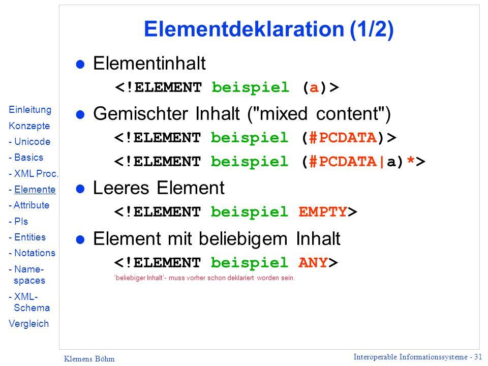 Elementdeklaration (1/2)