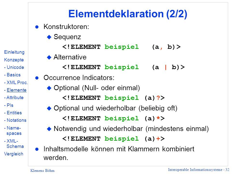 Elementdeklaration (2/2)