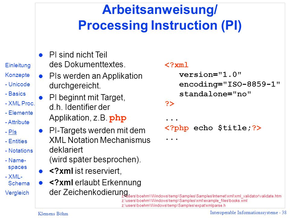 Arbeitsanweisung/ Processing Instruction (PI)