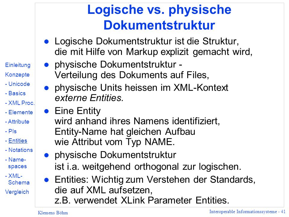 Logische vs. physische Dokumentstruktur
