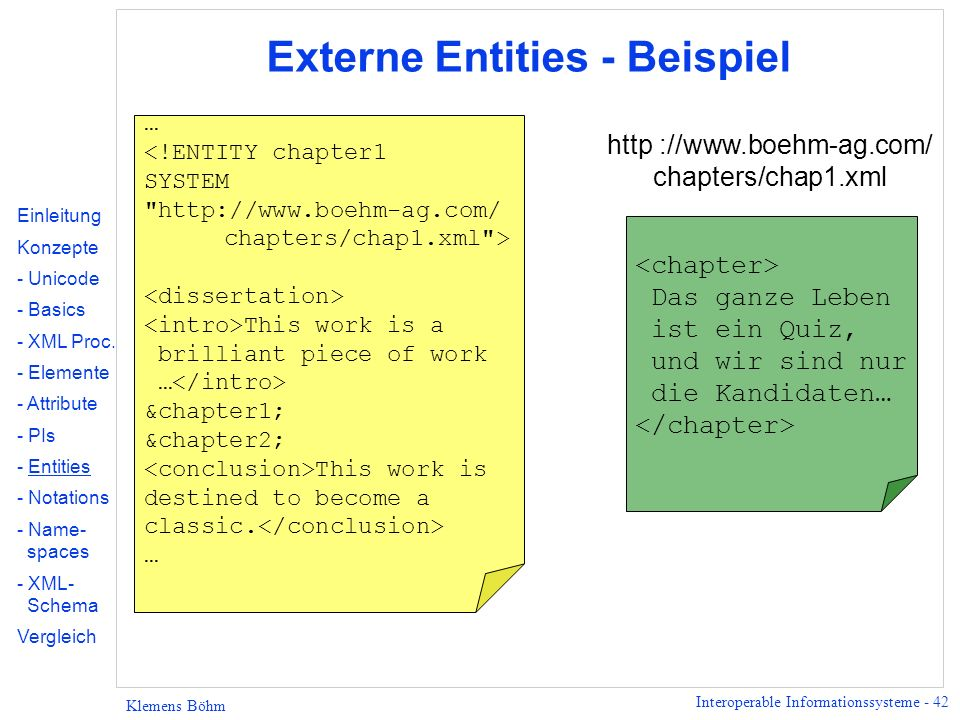 Externe Entities - Beispiel