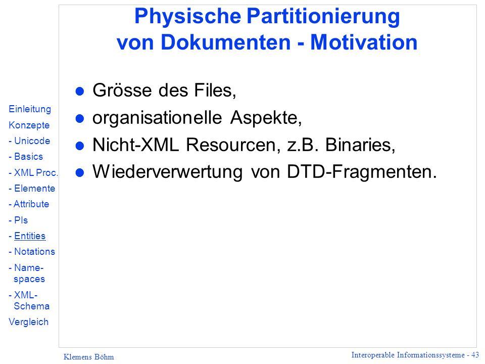 Physische Partitionierung von Dokumenten - Motivation