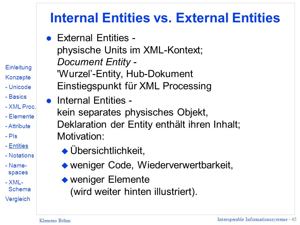 Internal Entities vs. External Entities