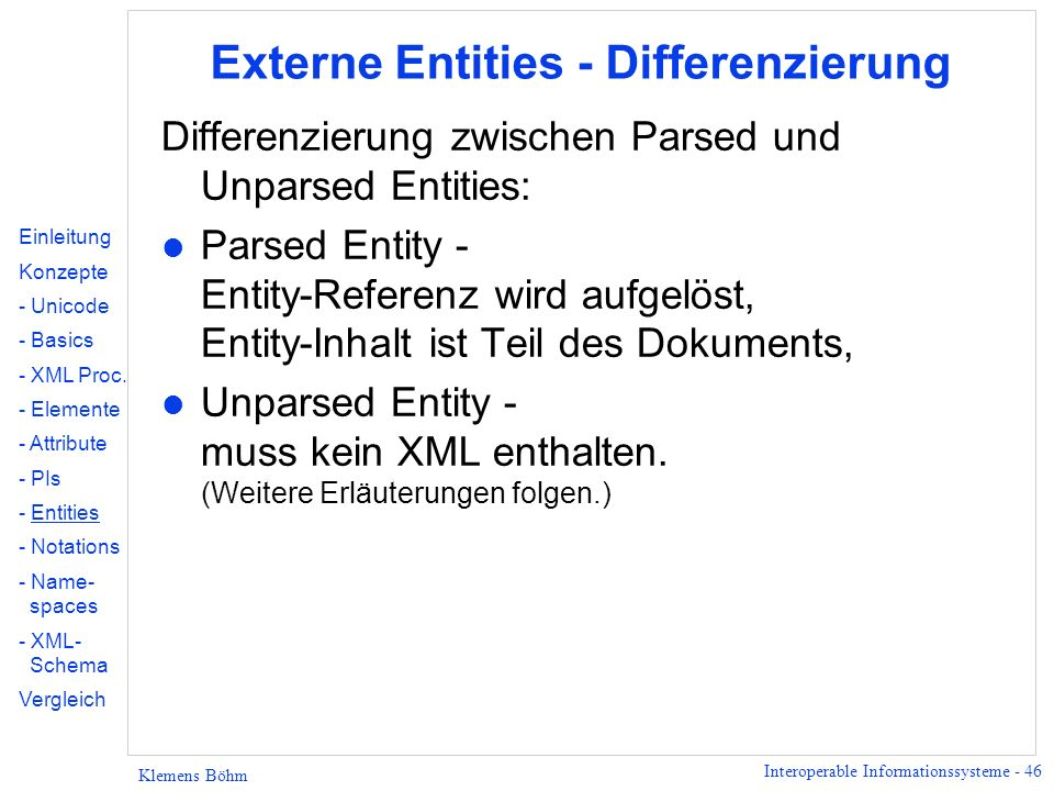 Externe Entities - Differenzierung