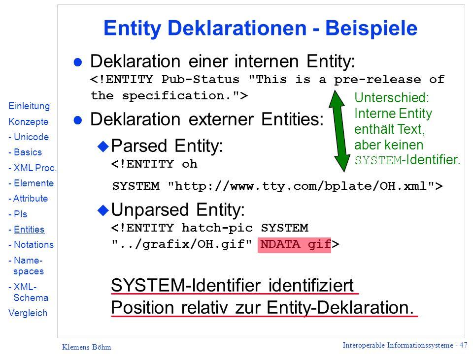 Entity Deklarationen - Beispiele
