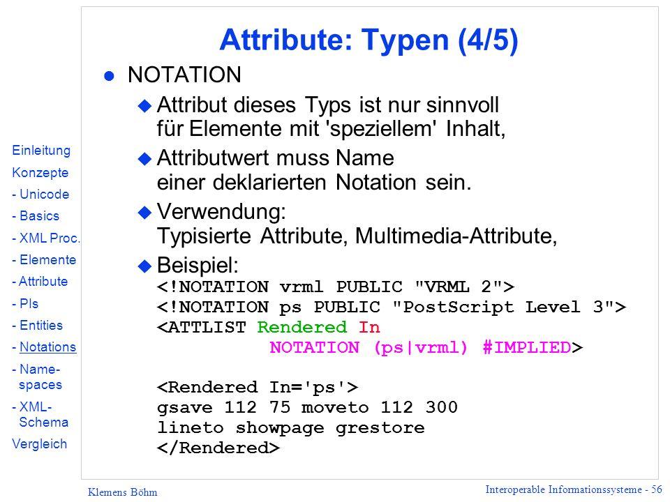 Attribute: Typen (4/5) NOTATION
