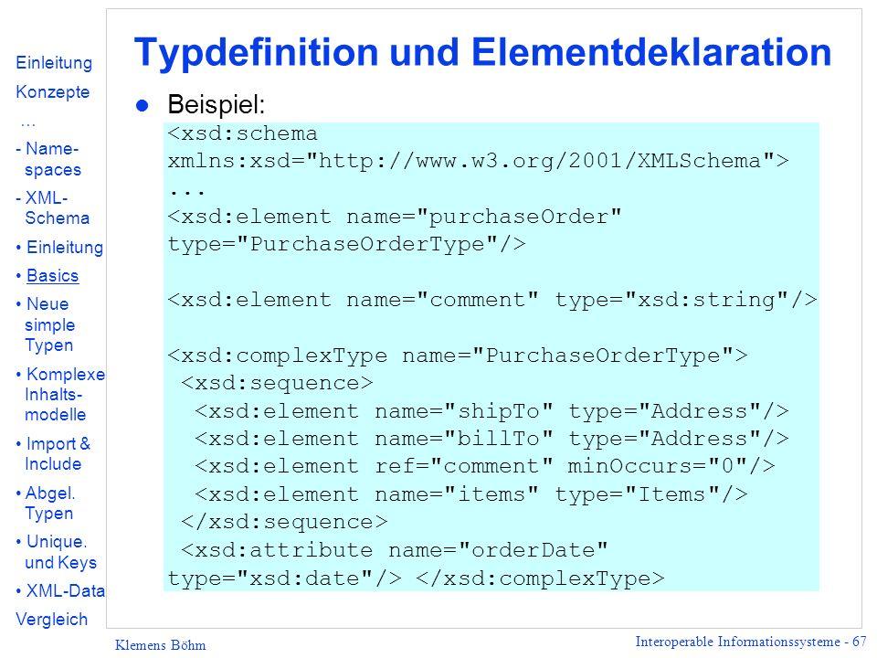 Typdefinition und Elementdeklaration